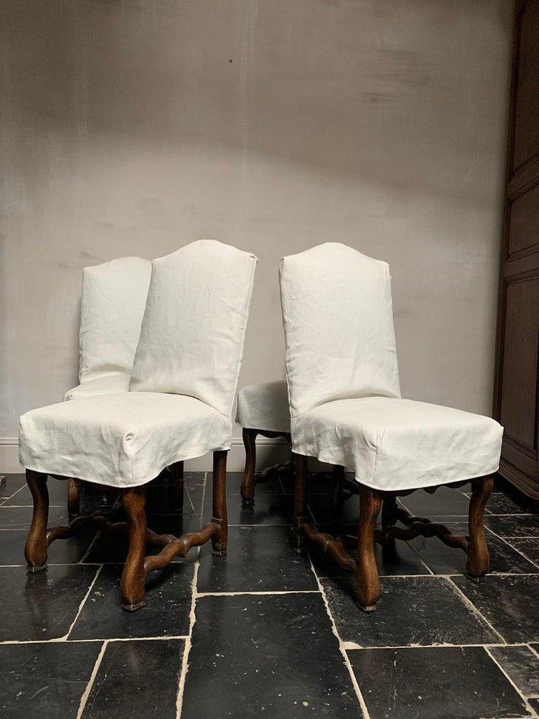 Set of 4 19th Century Walnut French Chairs For Sale 8