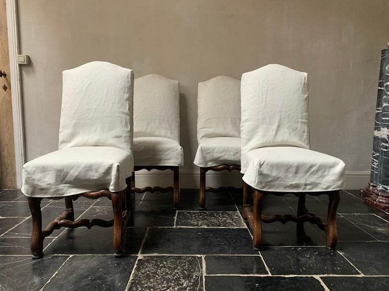 Set of 4 19th Century Walnut French Chairs For Sale 4