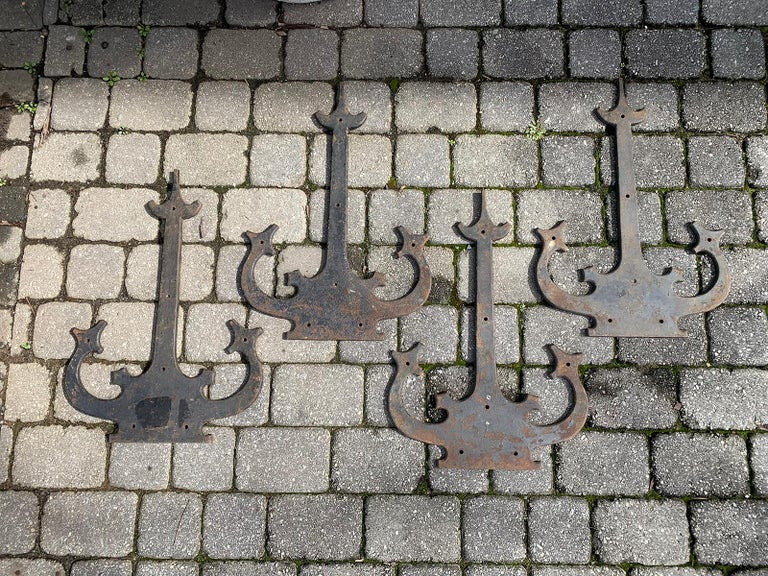 Set of '4' 20th Century Hand-Forged Wrought Iron Architectural Door Hinges For Sale 7