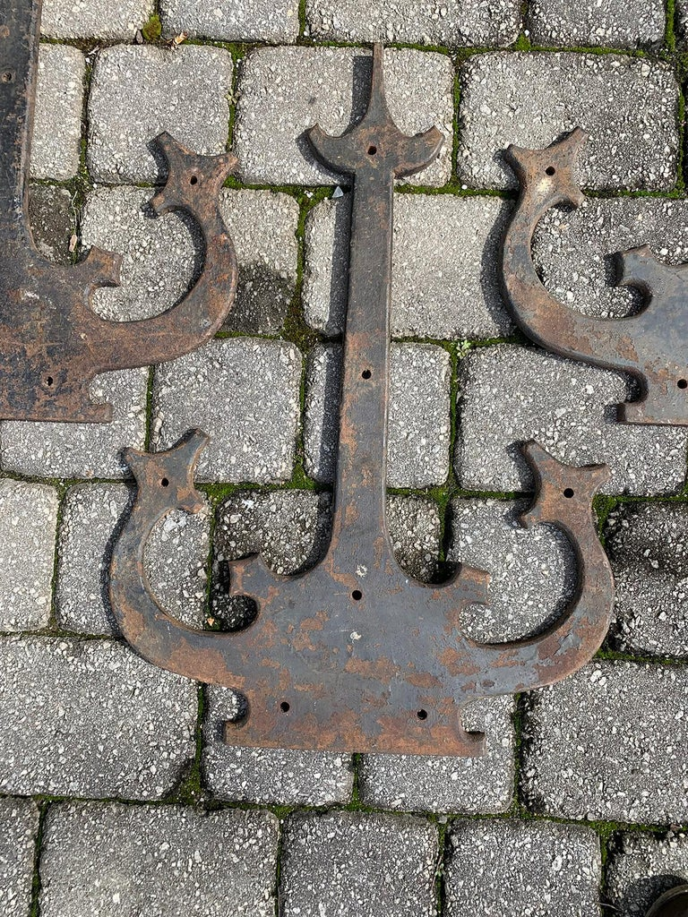 Set of '4' 20th Century Hand-Forged Wrought Iron Architectural Door Hinges For Sale 8