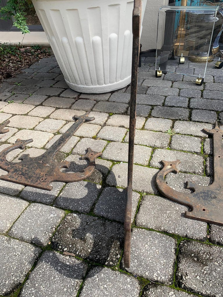 Set of '4' 20th Century Hand-Forged Wrought Iron Architectural Door Hinges For Sale 6