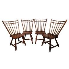 Set of 4 Adirondack Camp Style Hickory Windsor Spindle Back Chairs