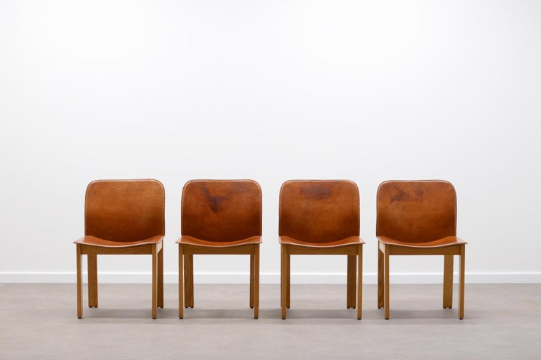 Mid-Century Modern Set of 4 Afra & Tobia Scarpa Dining Chairs, Italy, 1970s For Sale