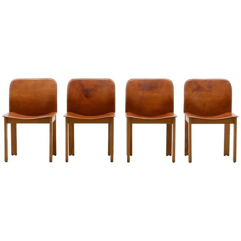 Set of 4 Afra & Tobia Scarpa Dining Chairs, Italy, 1970s For Sale