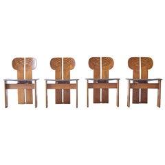 Set of 4 Africa Chairs, Afra & Tobia Scarpa, Maxalto Artona Series, Italy, 1970s