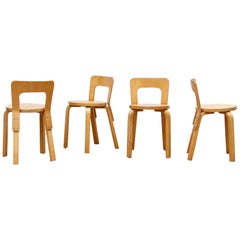 Set of 4 Alvar Aalto Model 65 Low Back Blonde Dining Chairs for Artek