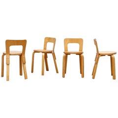 Set of 4 Alvar Aalto Model 65 Low Back Blonde Dining Chairs for Artek