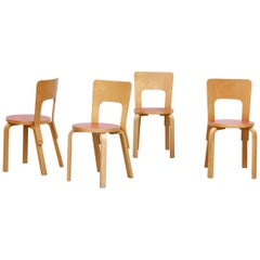 "Set of 4 Alvar Aalto ""Model 66"" Red Seat Dining Chairs for Artek"
