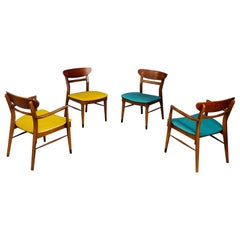 Set of 4 American Chairs in Wood and Leather, 1950s