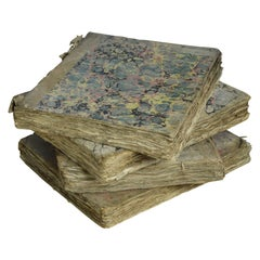 Set of 4 Antique 18th Century Books with Marbleized Bindings