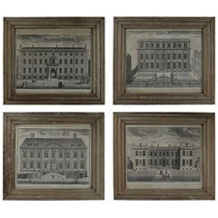 Set of 4 Antique Architectural Prints, London, Dated 1754