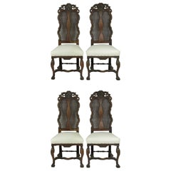 Set of 4 Antique Baroque Style Dutch Carved Walnut and Bergère Chairs