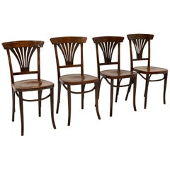 Set of 4 Antique Bentwood Cafe Dining Chairs