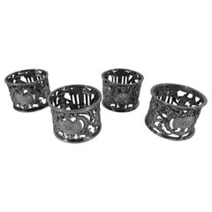 Set of 4 Antique English Edwardian Sterling Silver Cherub Napkin Rings