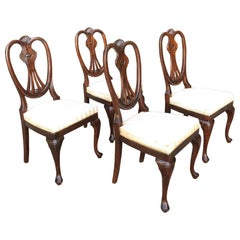 Set of 4 Antique English Queen Anne Side Chairs
