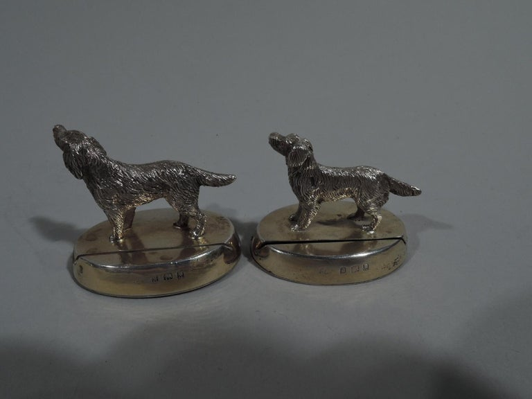 Early 20th Century Set of 4 Antique English Sterling Silver Place Card Holders with Dogs For Sale
