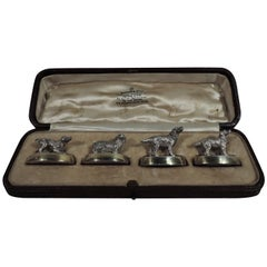 Set of 4 Antique English Sterling Silver Place Card Holders with Dogs