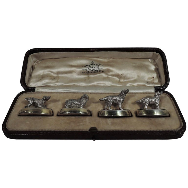 Set of 4 Antique English Sterling Silver Place Card Holders with Dogs For Sale