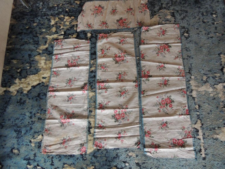 Set of (4) antique floral valances textiles. Small floral lightweight pattern in shades of blue, green and pink. Ideal for pillows. Four panels ranging from 26