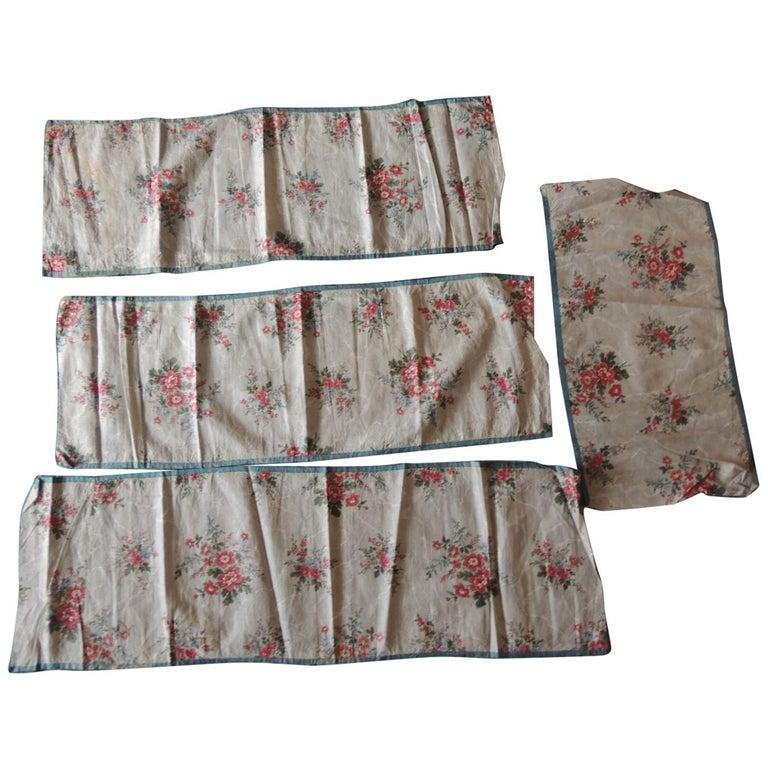 Set of '4' Antique Floral Valances Textiles For Sale