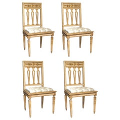 Set of 4 Antique Florentine Gilt & Carved Chairs Reupholstered with Silver Silk