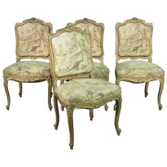 Set of 4 Antique French Figural Tapestry Gilded Dining Side Parlor Chairs
