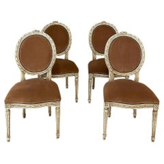 Set of 4 Antique French Louis XVI Painted Salon Chairs with Mohair