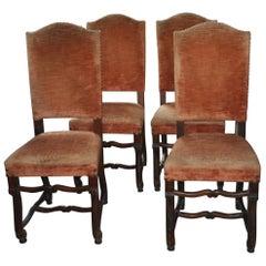 Set aus 4 Antiken Französischen Os De Mouton Stühle, Originalzustand