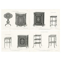 Set of 4 Antique Furniture Prints of Bahuts and Étagères by Quetin 'circa 1860'