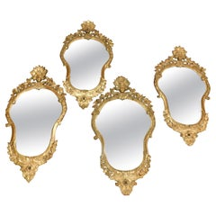Set of 4 Antique Gilded Mirrors, 18th Century Italy