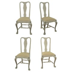 Set of 4 Antique Gustavian Style Bleached Mahogany Urn Back Dining Chairs