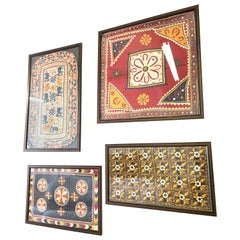 Set of 4 Antique Hand Embroidered Textile from India Framed