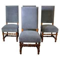 Set of 4 Antique High Back Dining Chairs