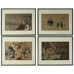 Set of 4 Antique Japanese Woodblock Prints with Figures, 19th Century