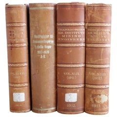 Set of 4 Antique Leather Bound Engineering Books, circa 1912