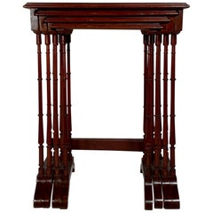 Set of 4 Antique Nesting Tables with Inlaid Mother of Pearl, circa 1870-1880