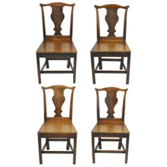 Set of 4 Antique Oak Country Chippendale Chairs, English, 18th Century