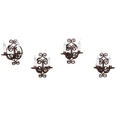 Set of 4 Antique Painted Wrought Iron Electrified Wall Sconces