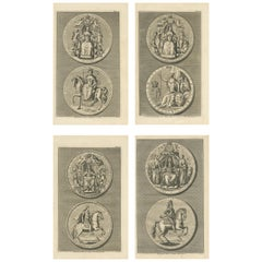 Set of 4 Antique Print of Great Seals by Rapin de Thoyras, circa 1780