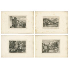 Set of 4 Antique Prints of Flanders and Holland, circa 1820