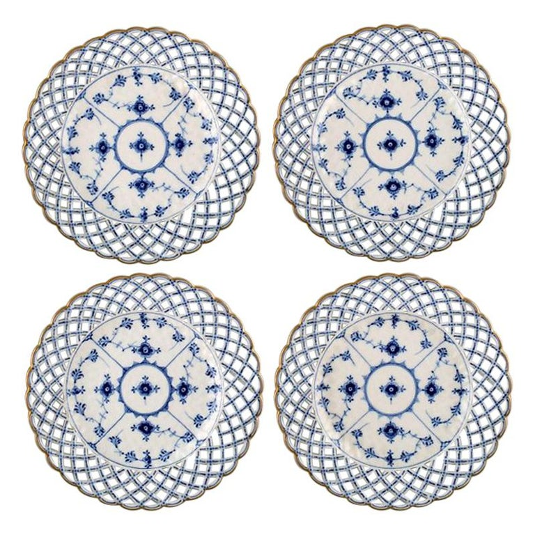 efe71cd3bee Set of 4 Antique Royal Copenhagen Blue Fluted Full Lace Plates with Gold  Rim For Sale
