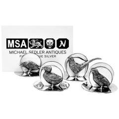 Set of 4 Antique Silver Bird Menu Holders / Card Holders 1912 Pheasant Duck