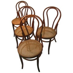 Set of 4 Antique Thonet Bentwood Chairs with Caned Seats