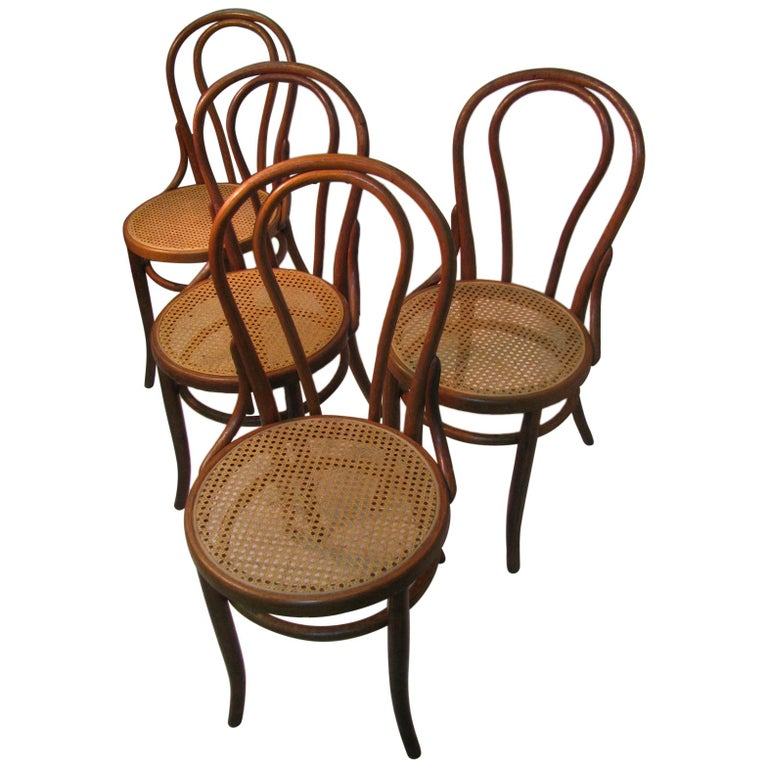 Set of 4 Antique Thonet Bentwood Chairs with Caned Seats For Sale