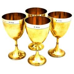 Set of 4 Antique Victorian Sterling Silver Parcel Gilt Goblets 1869 Wine Glasses