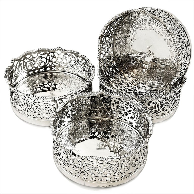 English Set of 4 Antique Victorian Sterling Silver Wine Bottle Coasters, 1840 For Sale