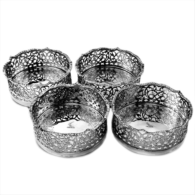 19th Century Set of 4 Antique Victorian Sterling Silver Wine Bottle Coasters, 1840 For Sale