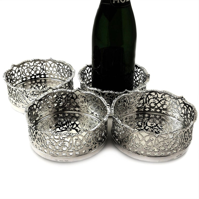 Set of 4 Antique Victorian Sterling Silver Wine Bottle Coasters, 1840 For Sale 1