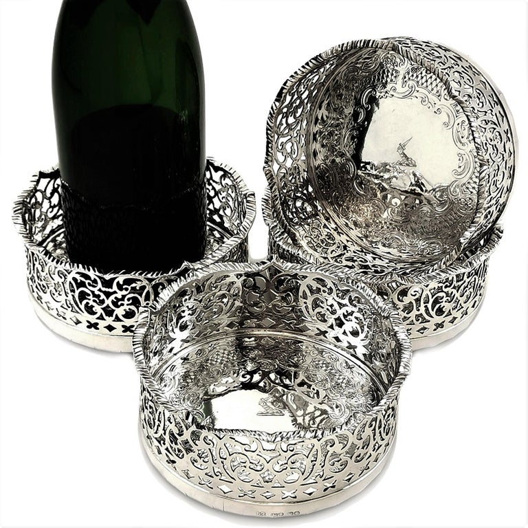 Set of 4 Antique Victorian Sterling Silver Wine Bottle Coasters, 1840 For Sale 3