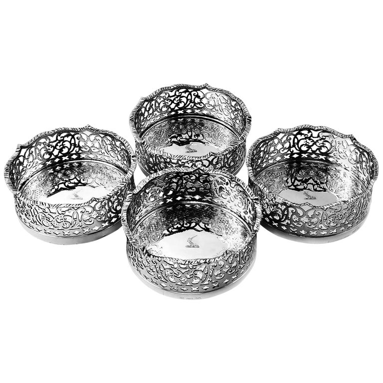 Set of 4 Antique Victorian Sterling Silver Wine Bottle Coasters, 1840 For Sale